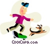 Vector Clipart illustration  of a Boy on a skateboard walking