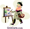 Artist painting on canvass Vector Clip Art image