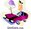 Boy driving in his toy car Vector Clipart illustration