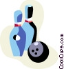 Vector Clipart graphic  of a Bowling pins and ball