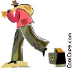 Man leaving vault with bag full of money Vector Clip Art image