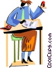 Student at her desk Vector Clipart picture