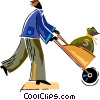 Vector Clip Art graphic  of a Man with wheelbarrow full of