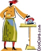 Vector Clipart graphic  of a Woman at home answering her