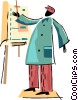 Vector Clip Art picture  of an Artist painting picture