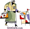 Vector Clip Art graphic  of a Woman dropping off mail