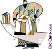 Vector Clipart illustration  of a Worker on the assembly line