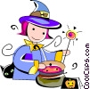 Trick or treating witch Vector Clip Art picture
