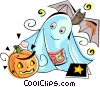 Jack-o-lantern with ghost and bat Vector Clipart graphic