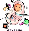 Pregnancy and Newborn Babies with soother and rattle Vector Clipart illustration
