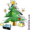 Christmas tree with presents Vector Clipart graphic