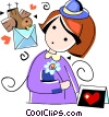 Vector Clip Art image  of a Girl receiving a valentines