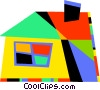 Vector Clip Art picture  of a Colorful house