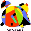 Vector Clip Art image  of a Colorful alarm clock