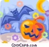 Vector Clipart graphic  of a Bat and pumpkin