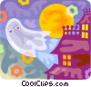 Vector Clipart illustration  of a Ghost and haunted house