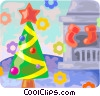 Vector Clipart illustration  of a Christmas tree with stockings