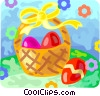 Vector Clip Art image  of a Easter basket with Easter eggs
