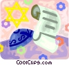 Vector Clip Art graphic  of a Scroll with Star of David and