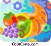 Cornucopia with grapes, pears and a apple Vector Clip Art picture