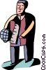 Man walking with globe Vector Clip Art image