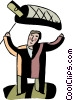 Vector Clip Art graphic  of a Man catching money with a net