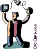 Man with computer, satellite and globe Vector Clipart picture