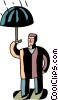 Vector Clip Art graphic  of a Man with umbrella in the rain