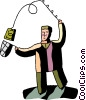 Man catching money with fishing rod and net Vector Clipart picture