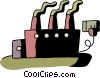 Factory plugged in Vector Clip Art graphic