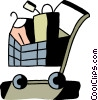 Shopping cart with clothes Vector Clipart illustration
