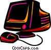 Vector Clip Art image  of a Computer monitor and mouse