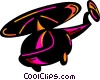 Vector Clip Art graphic  of a Flying helicopter