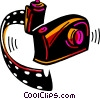 Camera and roll of film Vector Clipart illustration