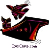 Vector Clip Art picture  of a Fighter jet taking off from