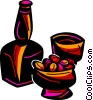 Vector Clip Art picture  of a Bottle of liquor with glasses