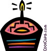 Birthday cupcake with candle Vector Clipart graphic