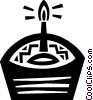 Vector Clipart illustration  of a Birthday cupcake with candle