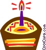 Birthday cupcake with candle Vector Clip Art image