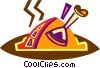 Vector Clip Art graphic  of a Roast turkey dinner