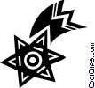 Vector Clip Art image  of a Shooting star