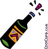 Vector Clipart image  of a Corked champagne bottle