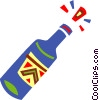 Vector Clip Art image  of a Corked champagne bottle