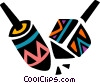 Vector Clip Art graphic  of a Colorful dreidels