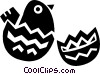 Vector Clip Art image  of a Cracked Easter egg