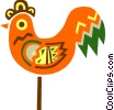 Vector Clip Art image  of a Colorful rooster