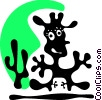 Cartoon character in cowboy outfit and cactus Vector Clipart picture