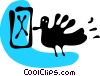 Vector Clip Art graphic  of a Bird flying with mail