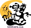 Vector Clip Art image  of a Cartoon character with video