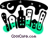 Vector Clip Art graphic  of a Night time in the city